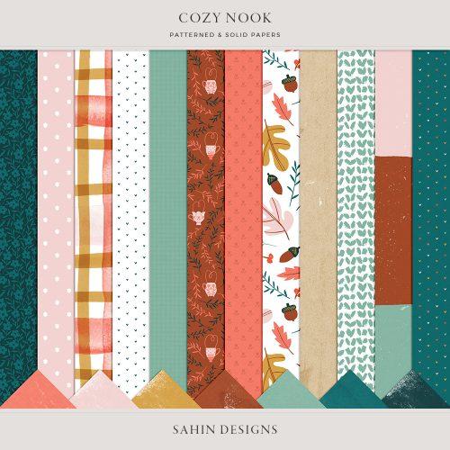 Cozy Nook Digital Scrapbook Papers - Sahin Designs