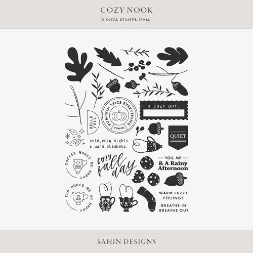 Cozy Nook Fall Digital Scrapbook Stamps - Sahin Designs