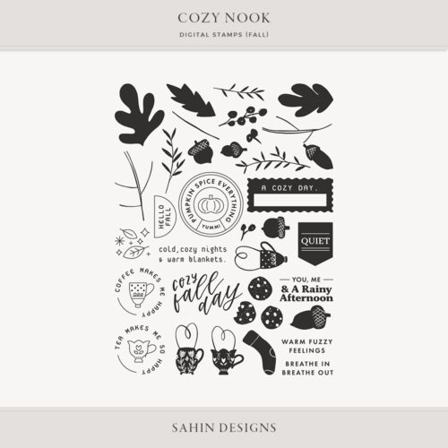 Cozy Nook Fall Digital Scrapbook Stamps - Sahin Designs