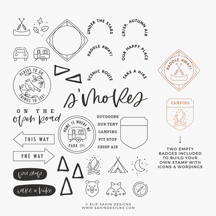 Sahin Designs - Notes from the Road - Clear Stamp Designs