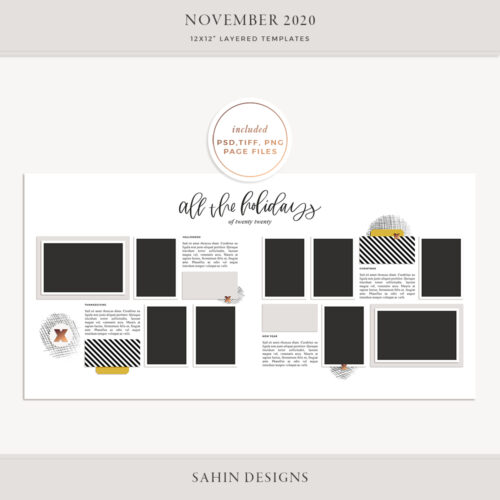 November 2020 Digital Scrapbook Layout Template/Sketch - Sahin Designs