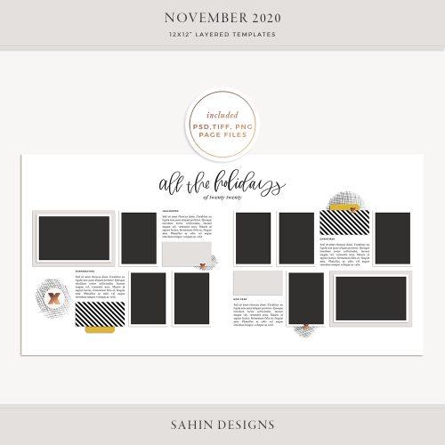 November 2020 Digital Scrapbook Layout Template/Sketch - Sahin Designs
