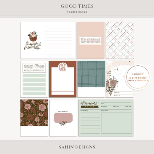 Good Times Printable Pocket Cards - Sahin Designs
