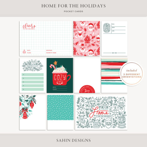 Home for the Holidays Printable Pocket Cards - Sahin Designs