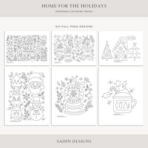 Home for the Holidays Printable Coloring Pages - Sahin Designs