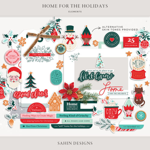 Home for the Holidays Digital Scrapbook Elements - Sahin Designs
