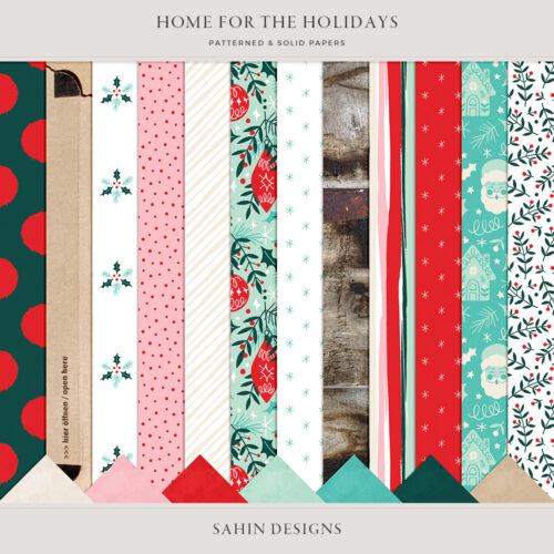 Home for the Holidays Digital Scrapbook Papers - Sahin Designs