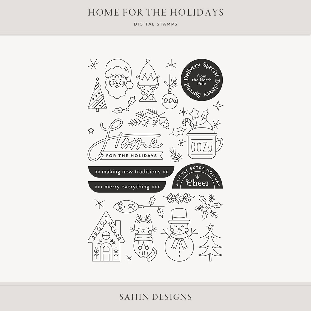 Home for the Holidays Digital Scrapbook Stamps - Sahin Designs