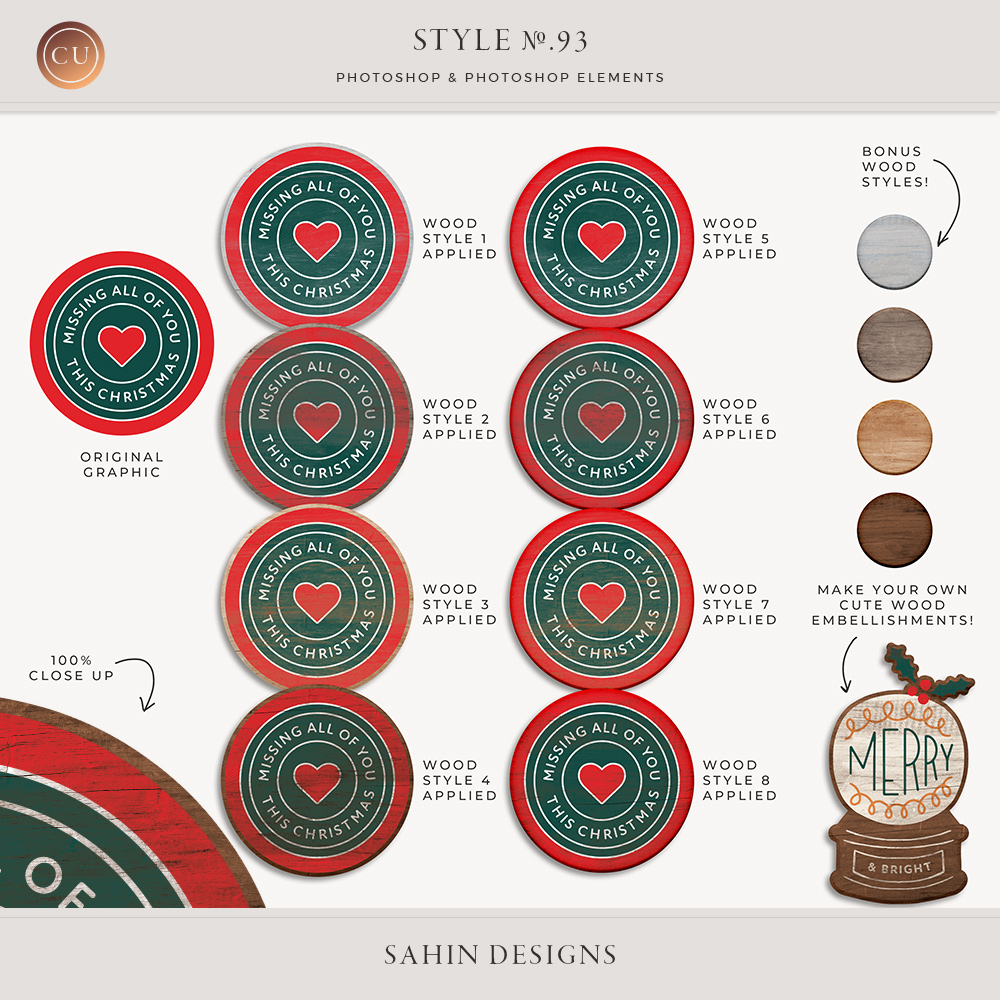 Painted Wood Photoshop Layer Styles -Sahin Designs CU Digital Scrapbook