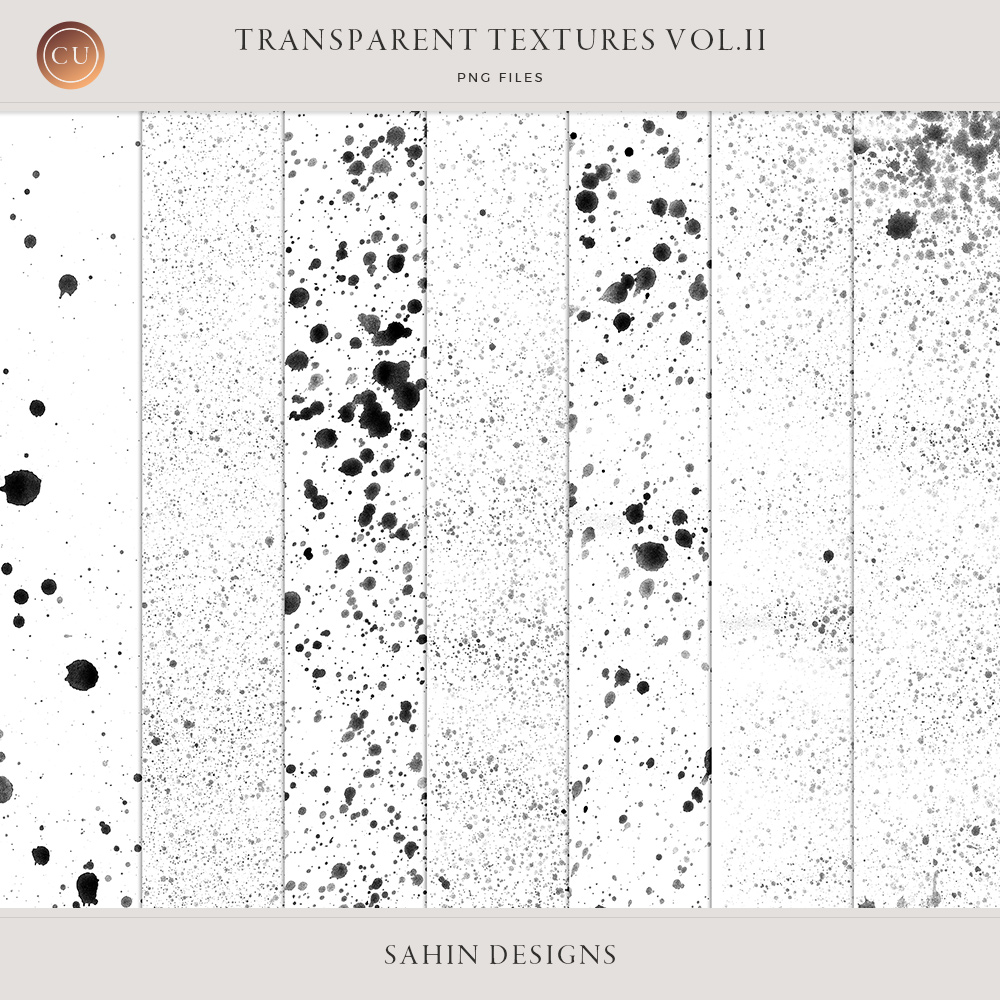 Transparent Paint Splat Textures -Sahin Designs CU Digital Scrapbook