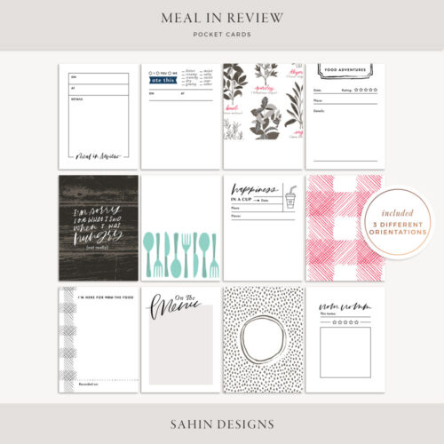 Meal in Review Printable Pocket Cards - Sahin Designs