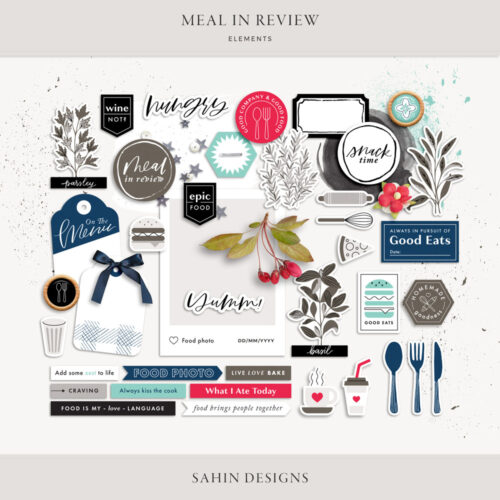 Meal in Review Digital Scrapbook Elements - Sahin Designs