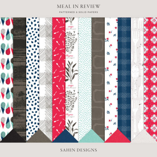 Meal in Review Digital Scrapbook Papers - Sahin Designs