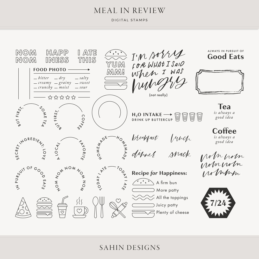 Meal in Review Digital Scrapbook Stamps - Sahin Designs