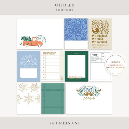 Oh Deer Printable Pocket Cards - Sahin Designs