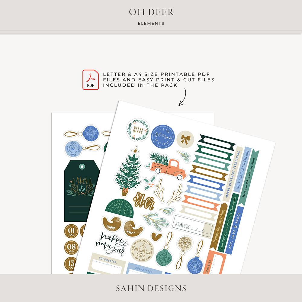 Oh Deer Digital Scrapbook Elements - Sahin Designs