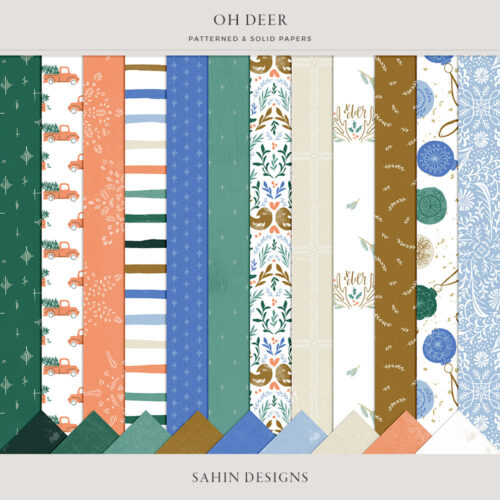 Oh Deer Digital Scrapbook Papers - Sahin Designs