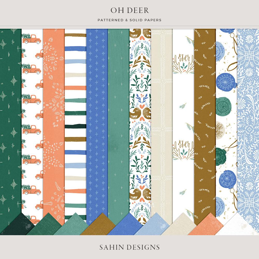 Oh Deer Digital Scrapbook Papers - Sahin Designs