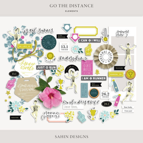 Go the Distance Digital Scrapbook Elements - Sahin Designs