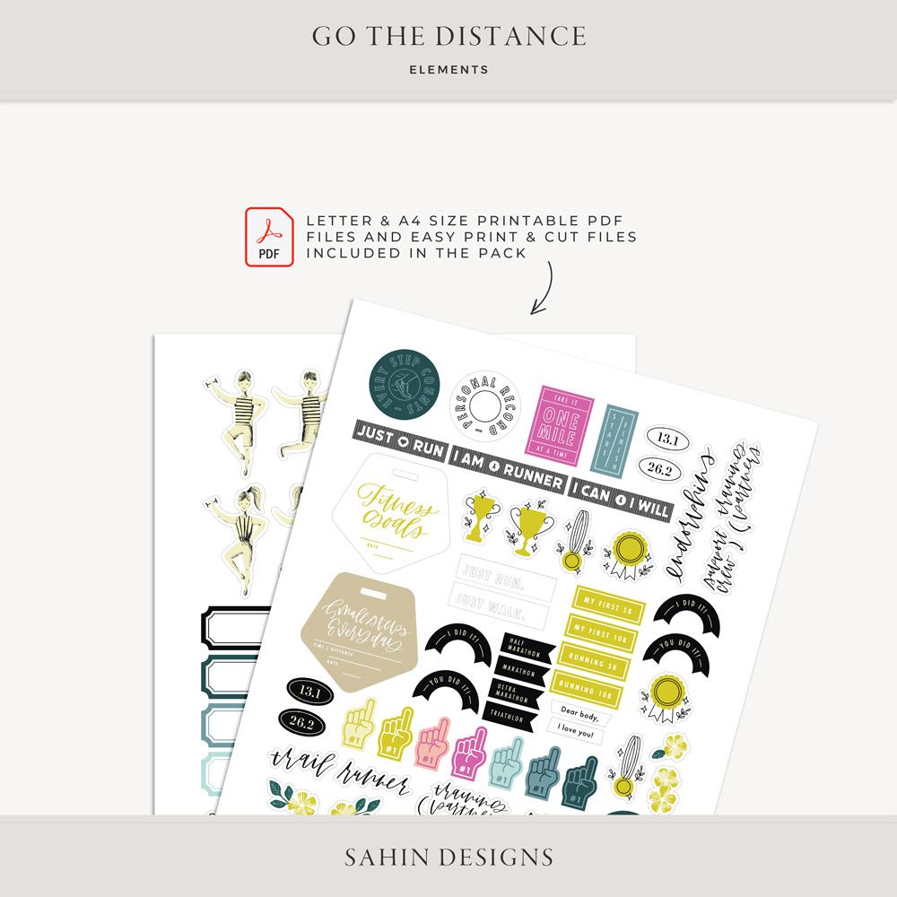 Go the Distance Digital Scrapbook Elements - Sahin Designs