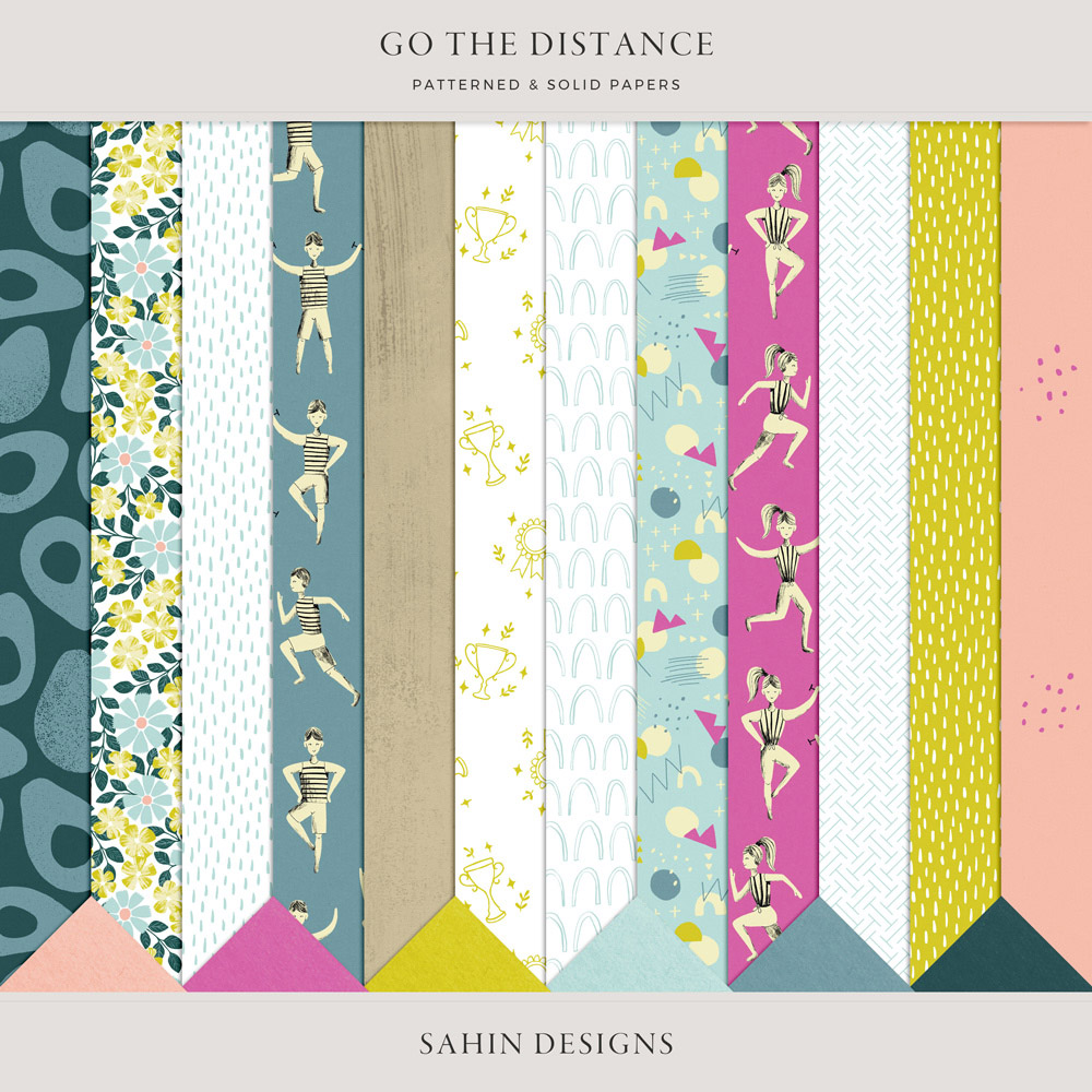 Go the Distance Digital Scrapbook Papers - Sahin Designs