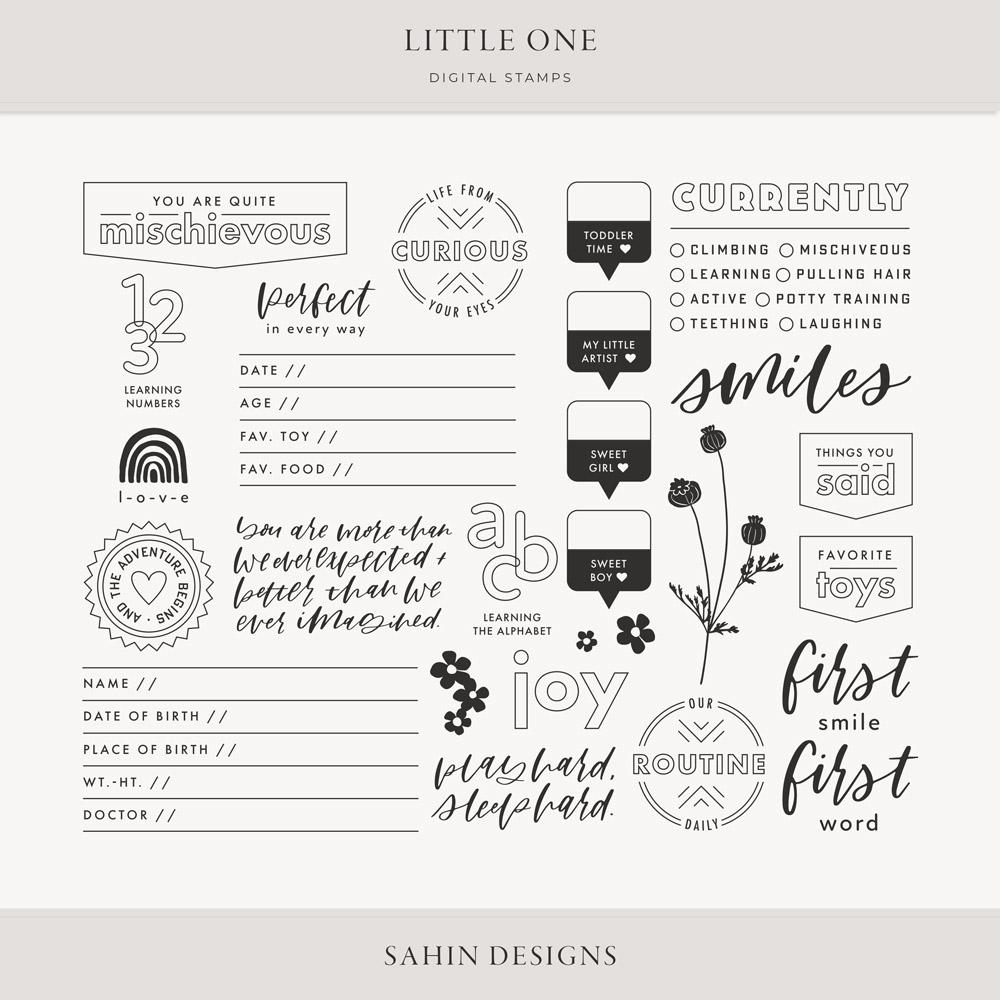 Little One Digital Scrapbook Stamps - Sahin Designs