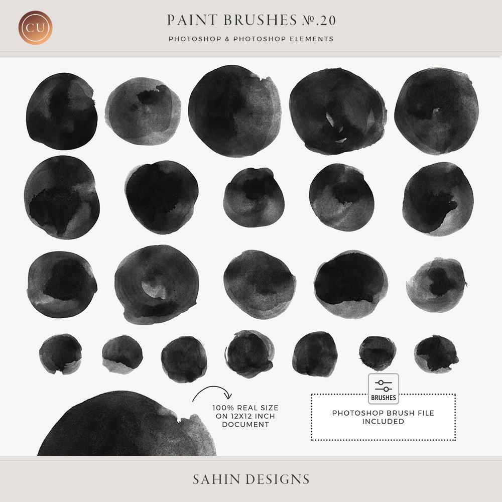 Watercolor Circles Photoshop Brushes - Sahin Designs - CU Digital Scrapbook