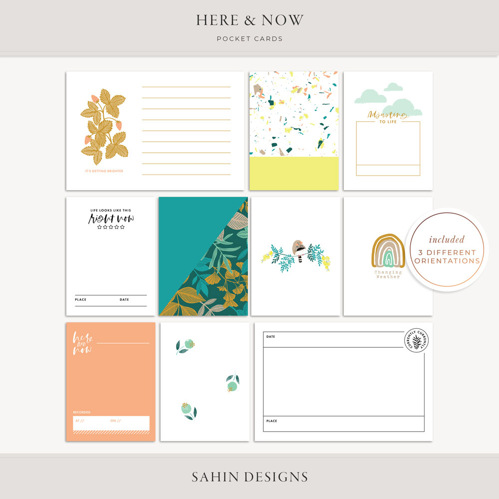 Here & Now Printable Pocket CaHere & Now Printable Pocket Cards - Sahin Designsrds - Sahin Designs