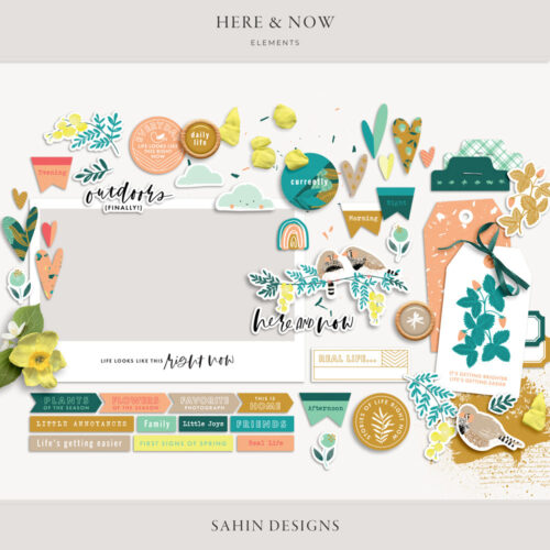 Here & Now Digital Scrapbook Elements - Sahin Designs