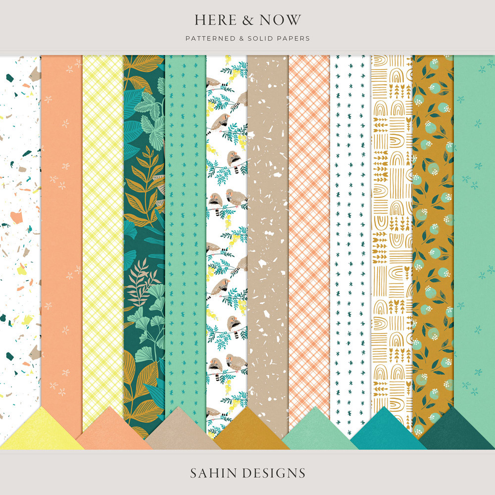 Here & Now Digital Scrapbook Papers - Sahin Designs