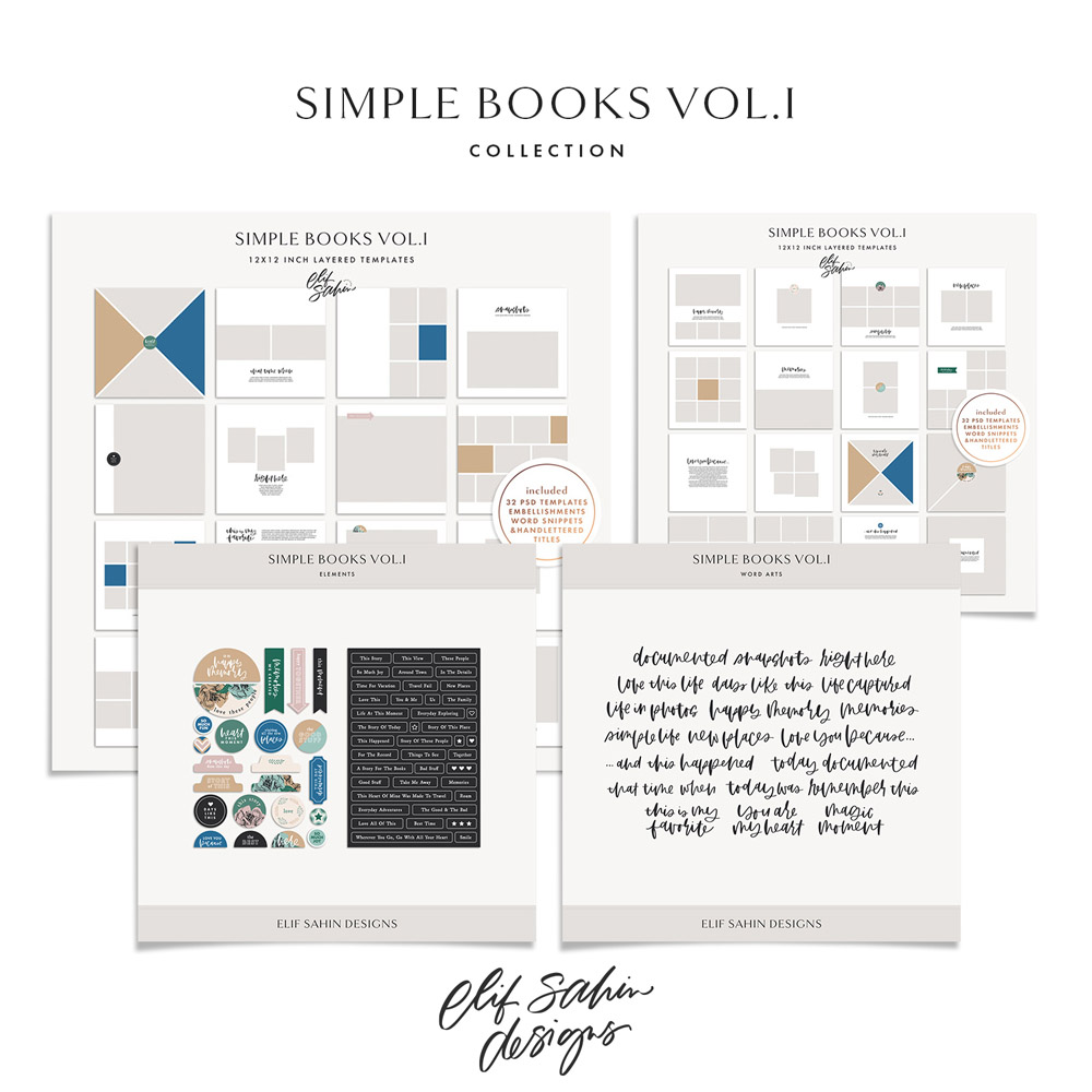 Simple Books Vol.I - Printable Photobook Templates - Sahin Designs