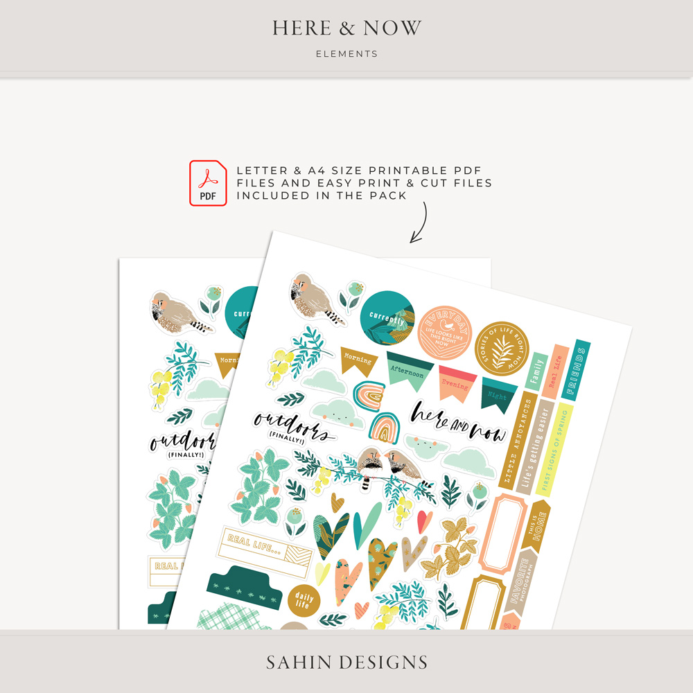 Here & Now Digital Scrapbook Elements - Sahin Designs