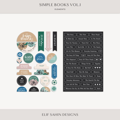Simple Books Vol.I - Digital Scrapbook Elements - Sahin Designs