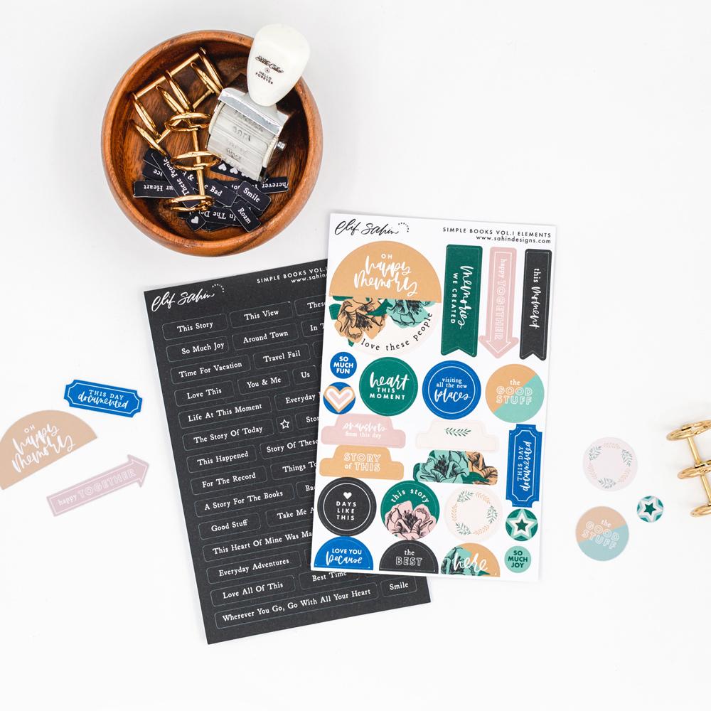 Simple Books Vol.I - Digital Scrapbook Elements - Sahin Designs