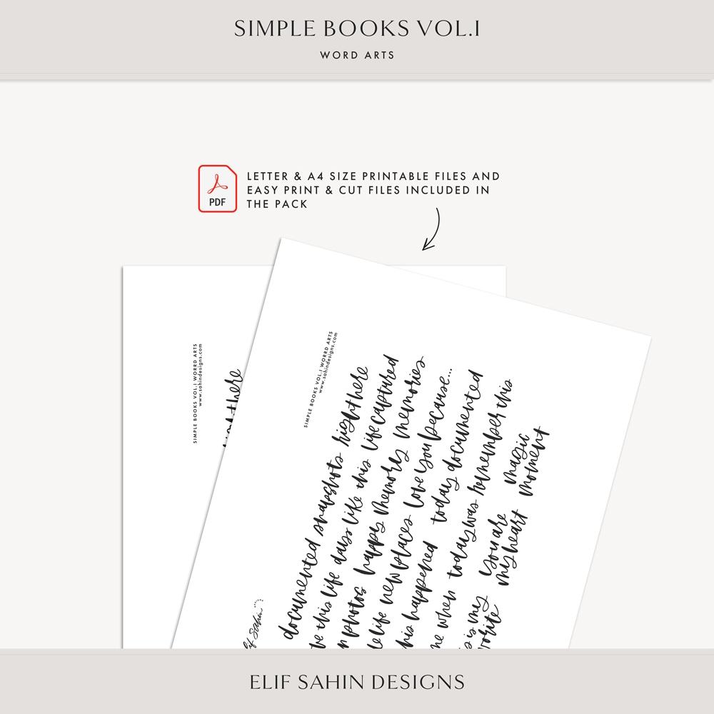 Simple Books Vol.I Digital Scrapbook Word Art - Sahin Designs