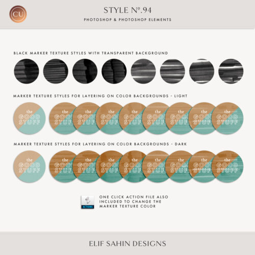 Marker Texture Photoshop Layer Styles - Sahin Designs - CU Digital Scrapbook