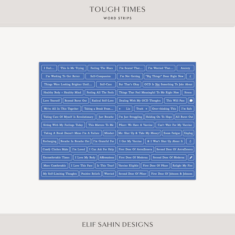 Tough Times Digital Scrapbook Word Snippets - Sahin Designs