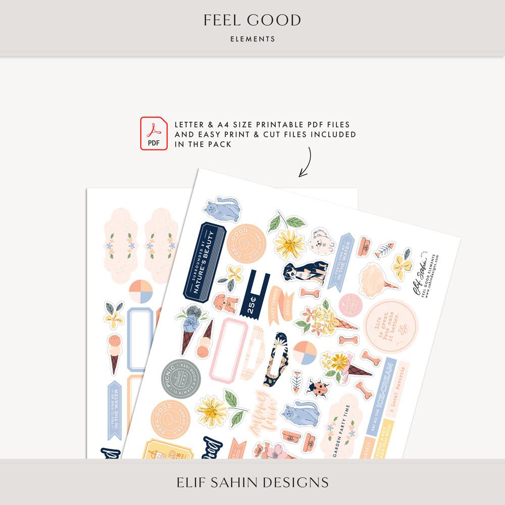 Feel Good Digital Scrapbook Elements - Sahin Designs
