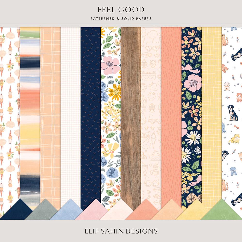 Feel Good Digital Scrapbook Papers - Sahin Designs