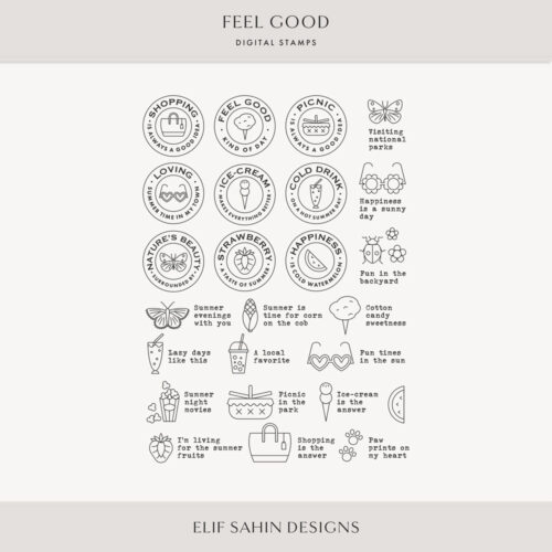 Feel Good Digital Scrapbook Stamps - Sahin Designs