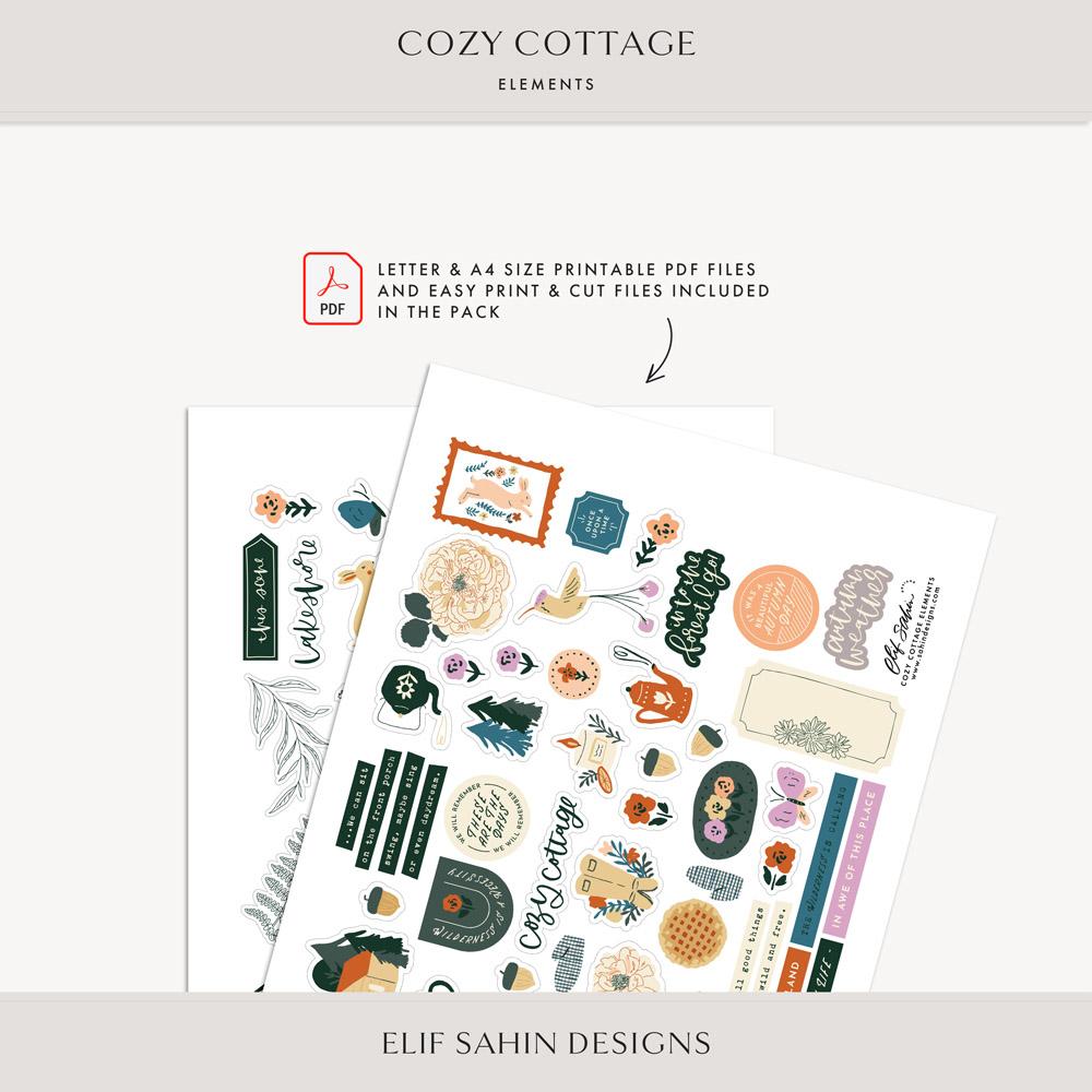 Cozy Cottage Digital Scrapbook Elements - Sahin Designs