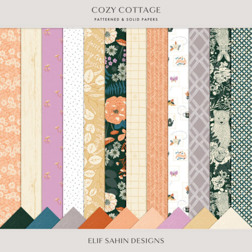 Cozy Cottage Digital Scrapbook Papers - Sahin Designs
