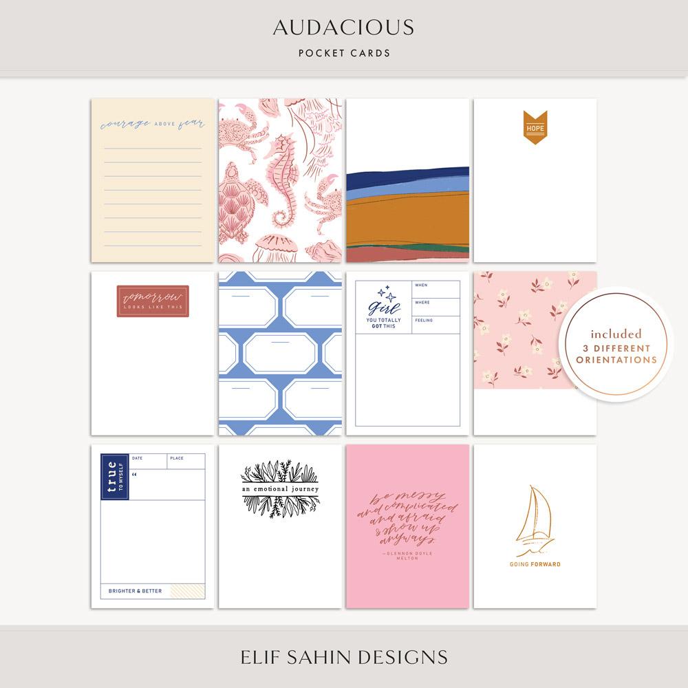 Audacious Printable Pocket Cards - Sahin Designs