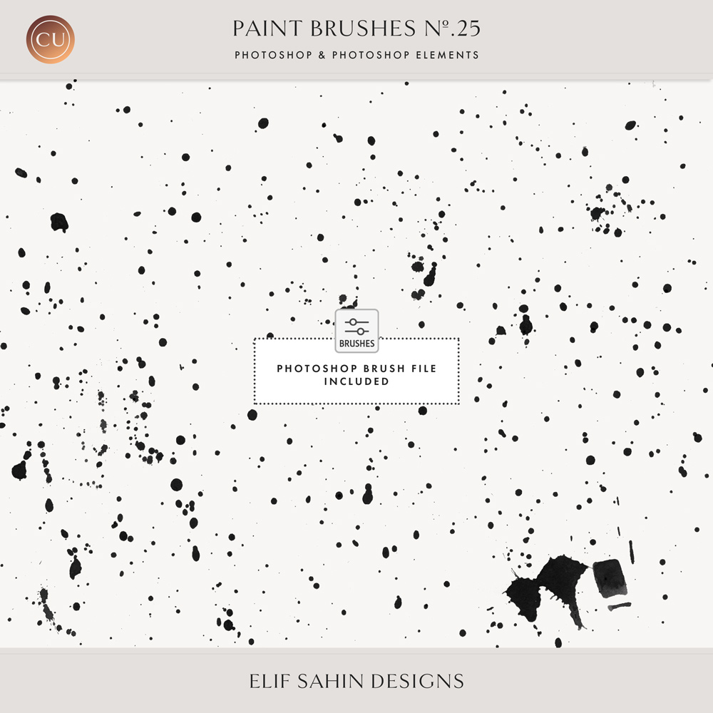 Speckle Ink Photoshop Brushes - Sahin Designs - CU Digital Scrapbook