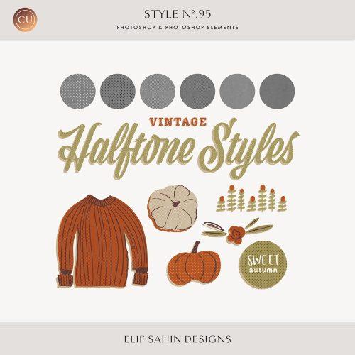Halftone Photoshop Layer Styles - Sahin Designs - CU Digital Scrapbook