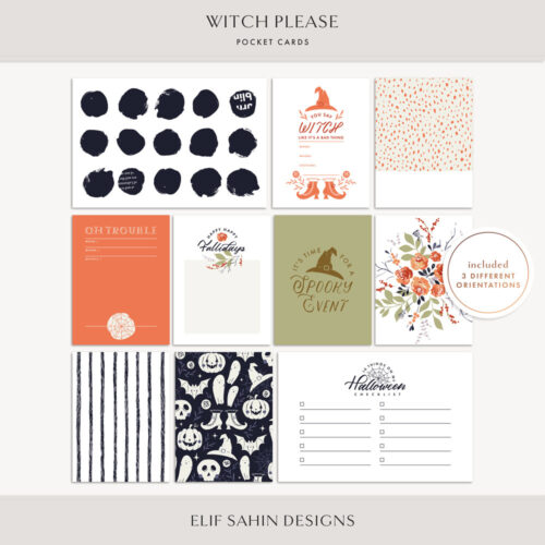 Witch Please Printable Pocket Cards - Sahin Designs