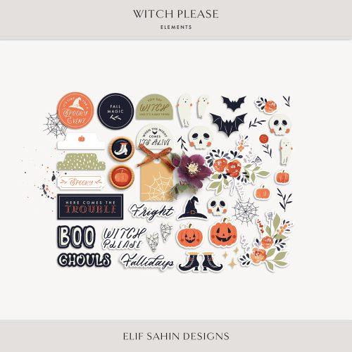 Witch Please Digital Scrapbook Elements - Sahin Designs