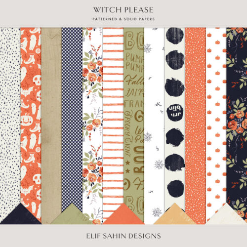 Witch Please Digital Scrapbook Papers- Sahin Designs