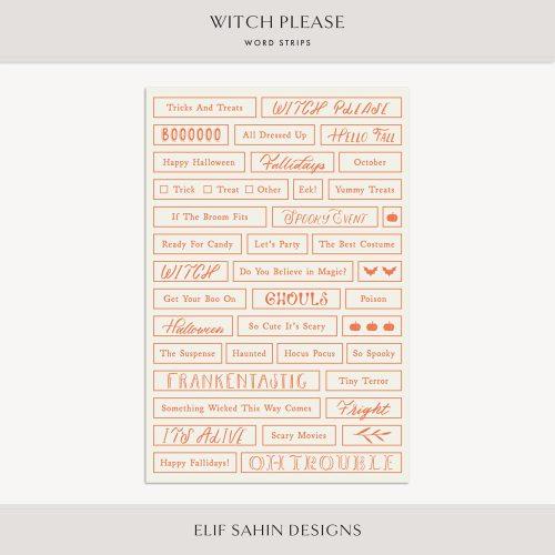 Witch Please Digital Scrapbook Word Strips - Sahin Designs